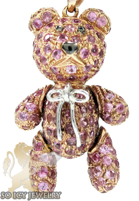 Ladies 14k rose gold pink sapphire teddy bear pendant 2.75ct