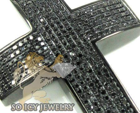 Mens black sterling silver round diamond cross 1.75ct