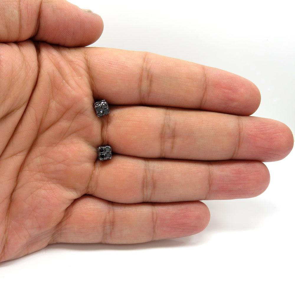 10k black gold round diamond 3d ice cube earrings 2.23ct