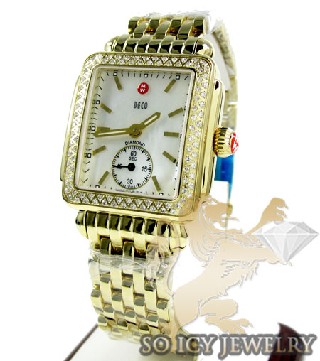 Ladies michele deco diamond yellow stainless steel watch 0.60ct