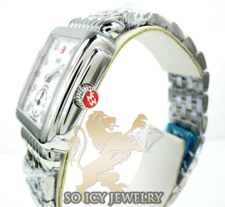 Ladies michele deco 16 white stainless steel watch 0.05ct