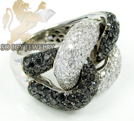 Ladies 14k white gold black & white diamond swirl ring 4.60ct