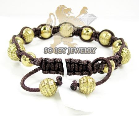 10k gold diamond macrame smooth bead brown rope bracelet 6.86ct