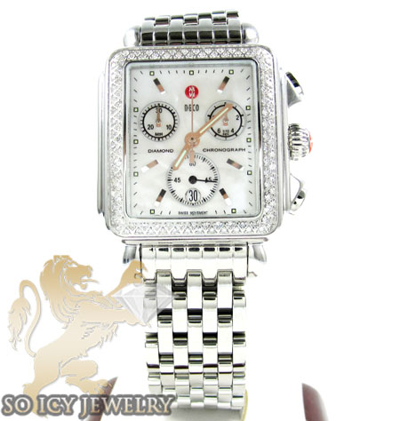 Ladies michele deco diamond white stainless steel watch 0.60ct