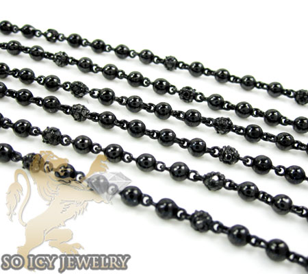 Black silver round black diamond bead chain 5.00ct