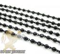 BLACK SILVER ROUND BLACK DIAMOND BEAD CHAIN 5.00CT