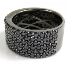 MENS 10K BLACK GOLD BLACK DIAMOND BAND 6.10CT