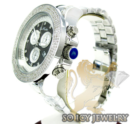 Mens joe rodeo white stainless steel pilot diamond watch 3.15ct jrpl2