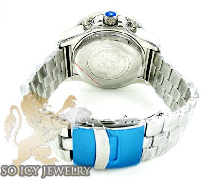 Mens joe rodeo white stainless steel pilot diamond watch 3.15ct jrpl2