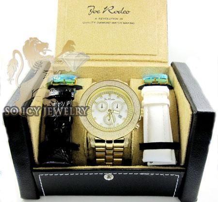 Mens joe rodeo yellow stainless steel pilot diamond watch 3.15ct jrpl3
