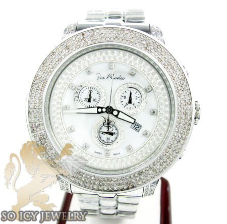 Mens joe rodeo white stainless steel pilot diamond watch 3.15ct jrpl1