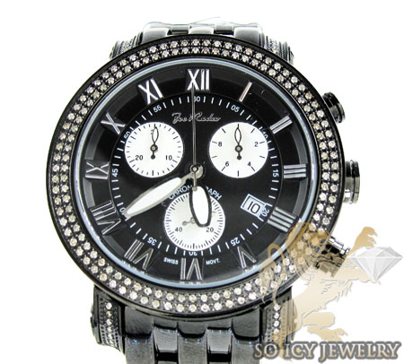 Mens joe rodeo black stainless steel classic diamond watch 1.75ct jcl49