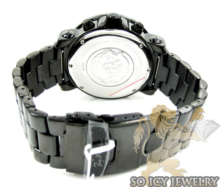 Mens joe rodeo black stainless steel junior diamond watch 4.75ct jju80