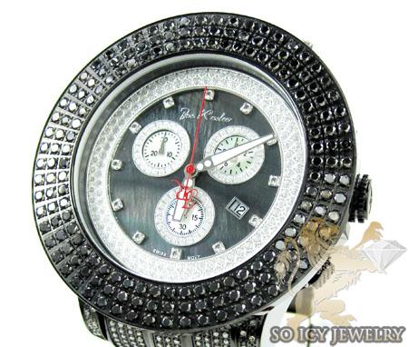Mens joe rodeo black stainless steel pilot black diamond watch 17.00ct jrpl29