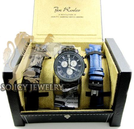 Mens joe rodeo black stainless steel classic blue diamond watch 3.50ct jcl111