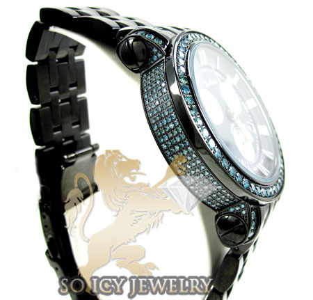 Mens joe rodeo black stainless steel classic blue diamond watch 5.50ct jcl110