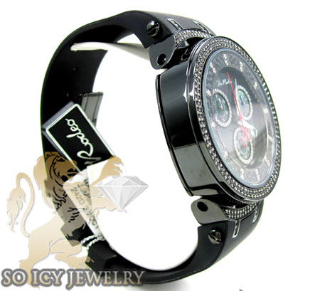 Mens joe rodeo black stainless steel master diamond watch 2.20ct jjm66