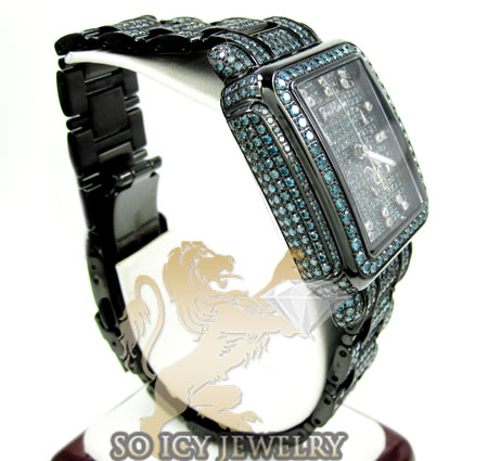 Ladies joe rodeo black stainless steel madison blue diamond watch 13.50ct jrmd35