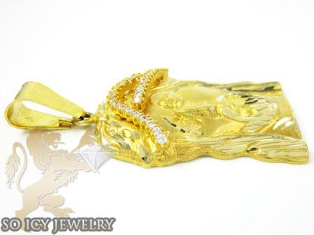 14k yellow gold cz jesus pendant 0.54ct