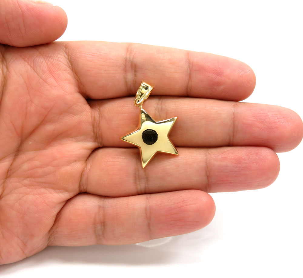 14k yellow gold solid puffed star small pendant