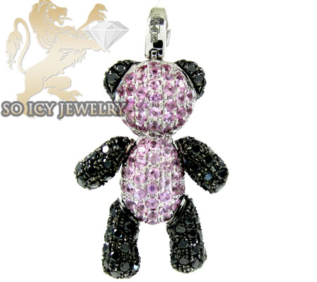 14k white gold pink & black diamond teddy bear  pendant 2.85ct