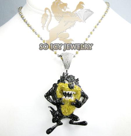 Taz mania devil 10k white gold diamond pendant 750ct aloadofball Images