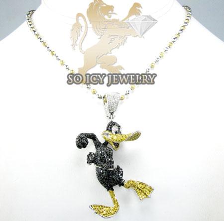 Daffy duck 10k white gold diamond pendant 4.75ct