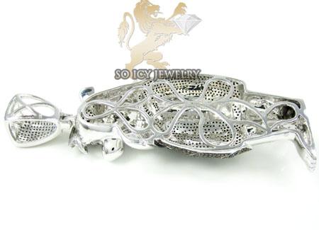 Fred flintstone 10k white gold diamond pendant 4.50ct