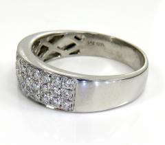 MENS 14K WHITE GOLD ROUND DIAMOND WEDDING BAND RING 1.25ct