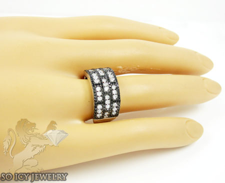 Ladies 14k white gold black & white diamond cocktail ring 1.28ct