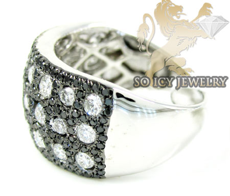 Ladies 14k white gold black & white diamond cocktail ring 1.95ct