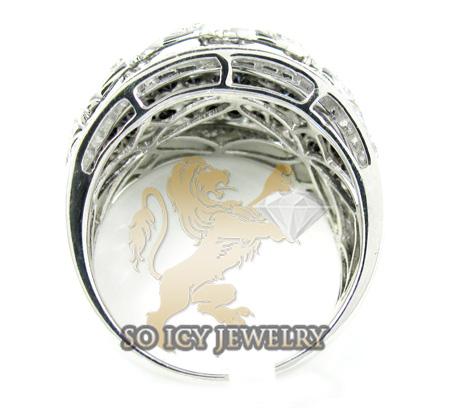 Ladies 14k white gold black & white diamond cocktail ring 1.66ct