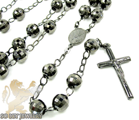 Black sterling silver rosary chain necklace 36 inches 8.8mm