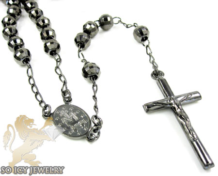 Black sterling silver rosary chain necklace 26 inches 6.8mm