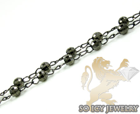 Black sterling silver rosary chain necklace 24 inches 3mm