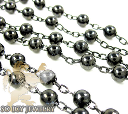 Black sterling silver rosary chain necklace 26 inches 5mm