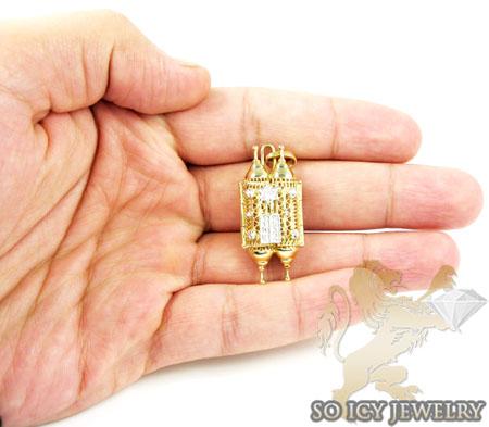 14k two tone jewish torah pendant