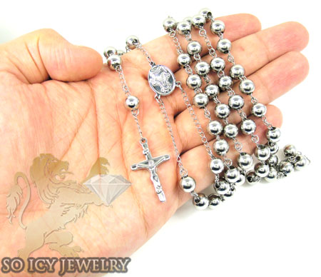 White stainless steel rosary necklace 30 inches 8mm