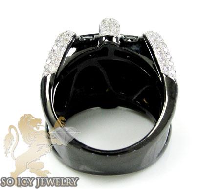 Mens 10k black gold black diamond pinky ring 2.81ct