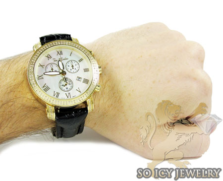 Mens joe rodeo yellow pearl classic diamond watch 1.75ct jcl23