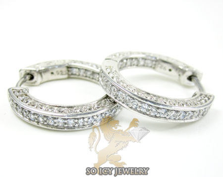 .925 white sterling silver round cz hoops 2.00ct