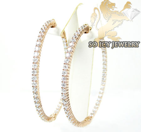 .925 rose sterling silver round cz hoops 2.00ct