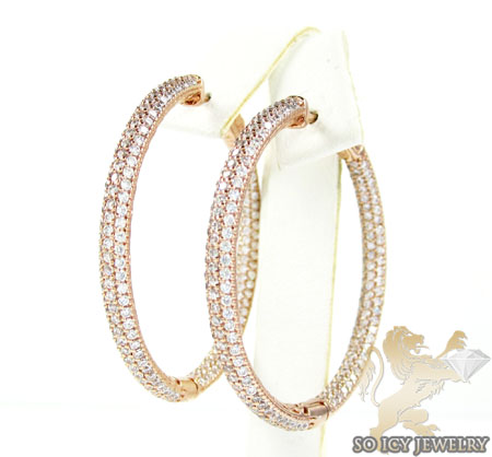 .925 rose sterling silver round cz hoops 3.00ct