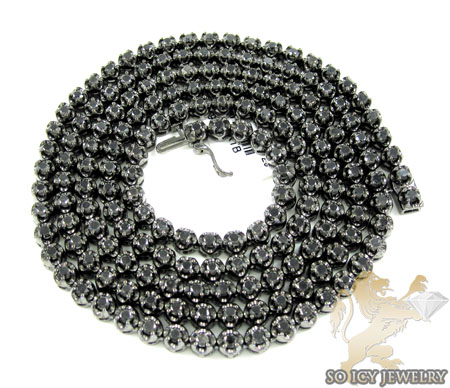 10k black gold round black 5 pointer diamond chain 11.00ct 20-30