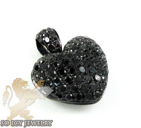 14k black gold black diamond heart pendant 1.10ct
