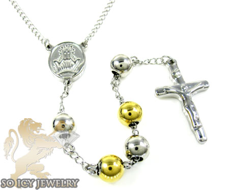 Two tone stainless steel rosary chain necklace 36 inches 8mm