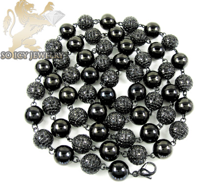 14k black gold round black diamond bead ball chain 44.50ct