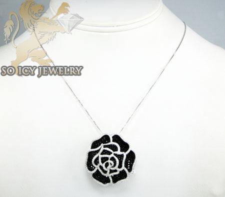 Sterling silver black & white cz flower pendant 5.00ct