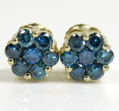14k solid gold blue diamond cluster earrings 1.00ct