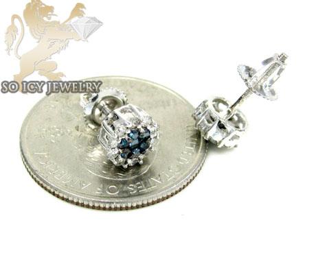 14k solid white gold blue diamond cluster earrings 0.75ct